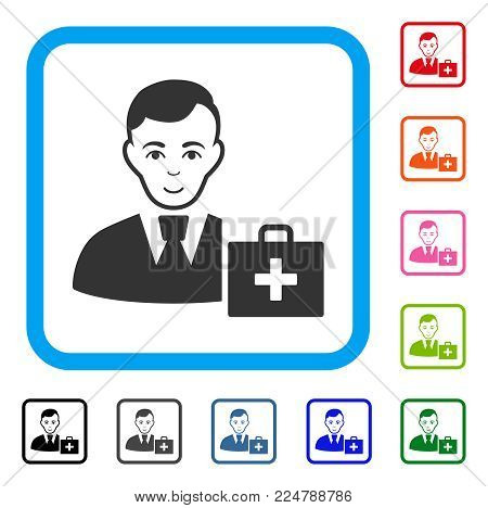 Enjoy First-Aid Manager vector icon. Human face has joyful mood. Black, grey, green, blue, red, pink color variants of first-aid manager symbol inside a rounded squared frame.