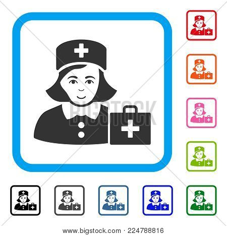 Positive First-Aid Nurse vector icon. Person face has happy mood. Black, grey, green, blue, red, pink color versions of first-aid nurse symbol in a rounded rectangular frame.