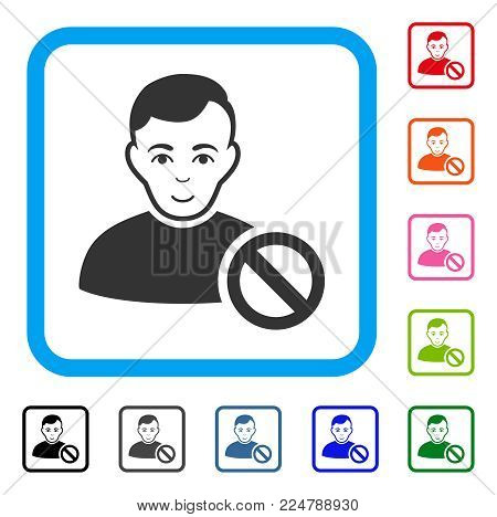 Glad Forbidden User vector pictogram. Human face has positive emotion. Black, gray, green, blue, red, pink color additional versions of forbidden user symbol inside a rounded rectangular frame.