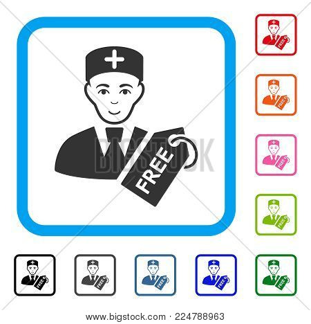 Happy Free Doctor vector pictogram. Person face has cheerful feeling. Black, grey, green, blue, red, pink color variants of free doctor symbol inside a rounded square.