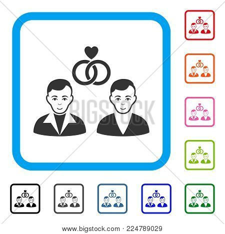 Joy Gays Marriage vector pictogram. Human face has glad sentiment. Black, gray, green, blue, red, pink color additional versions of gays marriage symbol in a rounded frame.