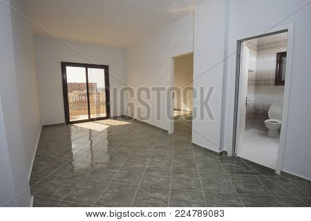 Interior decor design in luxury modern empty unfinished show home apartment