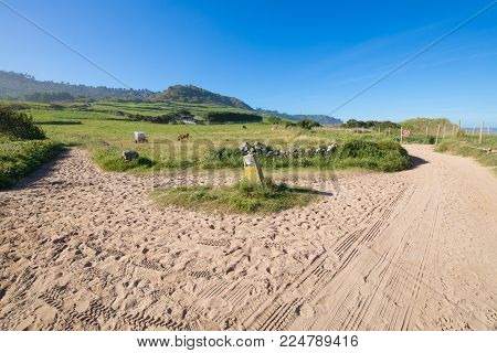 landscape with two sand trails with cement marker signal with symbol of Camino de Santiago, the biggest Christian pilgrimage route, this in Ribadesella, Asturias, Spain, Europe