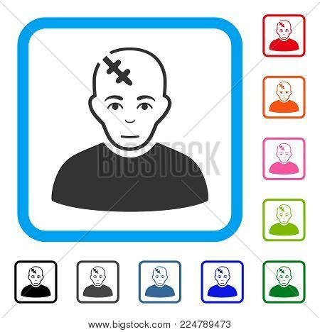 Joy Head Hurt vector icon. Person face has glad mood. Black, grey, green, blue, red, orange color additional versions of head hurt symbol in a rounded squared frame.
