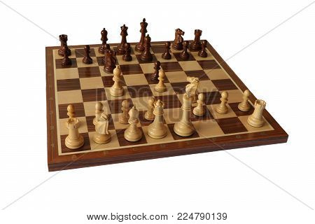 Photo of chess opening on white background. Hungarian Defence.