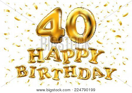 40Th Birthday Celebration With Gold Balloons And Colorful Confetti Glitters. 3D Illustration Design