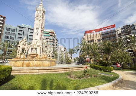 Alicante,spain-september 23,2017:city View, Street, Square, Plaza Luceros,alicante,spain.