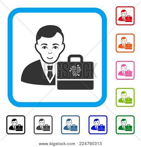 Glad Iota Accounter vector pictogram. Person face has enjoy sentiment. Black, grey, green, blue, red, orange color variants of iota accounter symbol in a rounded frame.