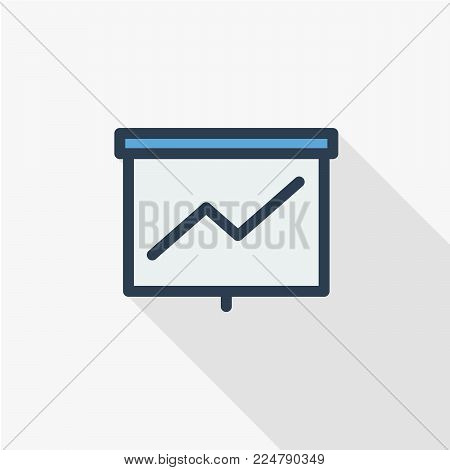 growth graph chart, market success, stock bar up thin line flat color icon. Linear vector illustration. Pictogram isolated on white background. Colorful long shadow design.