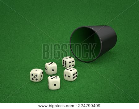 Dice game with dice cup on green table. Combination of dice - Large Straight, five sequential dice. 3D rendering