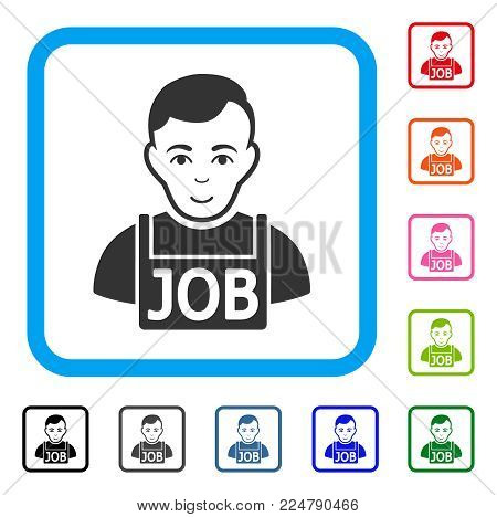 Cheerful Jobless vector icon. Human face has gladness expression. Black, grey, green, blue, red, orange color additional versions of jobless symbol inside a rounded rectangular frame.