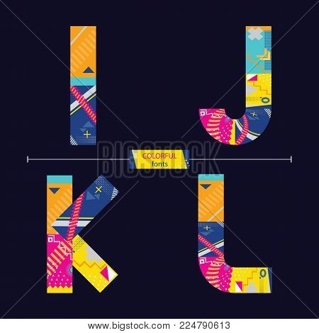 Vector graphic alphabet in a set I,J,K,L, with colorful geometric style