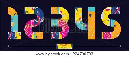 Vector graphic numbers in a set 1,2,3,4,5, with colorful geometric style