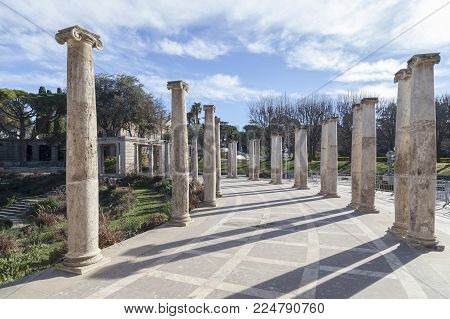 Barcelona,spain-january 15,2017:garden,jardins Joan Maragall And Palace Albeniz,park Montjuic,column