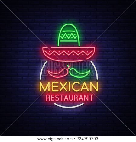 Mexican restaurant is a neon sign. Bright glow sign, neon banner, luminous logo, symbol, nightly advertisement of Mexican food. Design a template for your projects. Vector illustration.