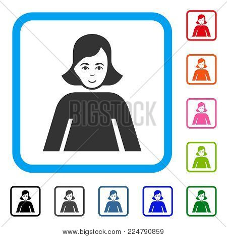 Enjoy Lady vector pictogram. Person face has joyful emotion. Black, grey, green, blue, red, orange color variants of lady symbol in a rounded squared frame.
