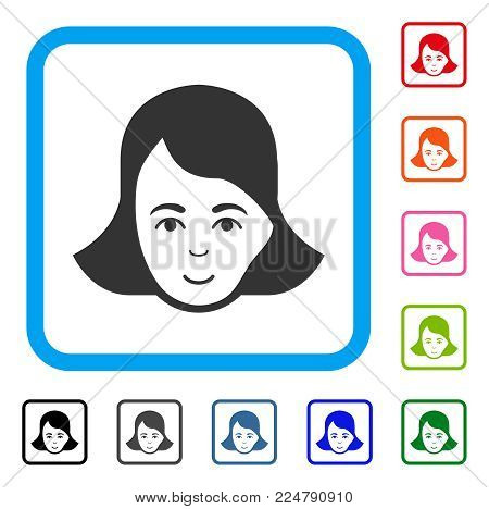 Happiness Lady Face vector pictogram. Person face has enjoy sentiment. Black, gray, green, blue, red, pink color additional versions of lady face symbol inside a rounded frame.