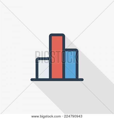 graph chart, statistic diagram thin line flat color icon. Linear vector illustration. Pictogram isolated on white background. Colorful long shadow design.