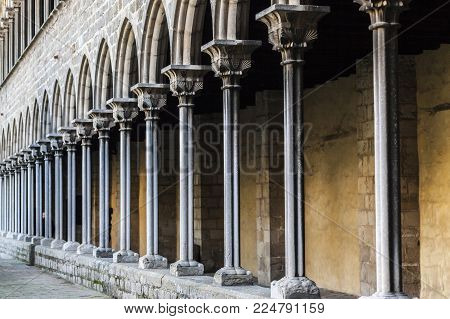 Barcelona,spain- February 26,2017: Cloister Monastery Pedralbes, Barcelona.