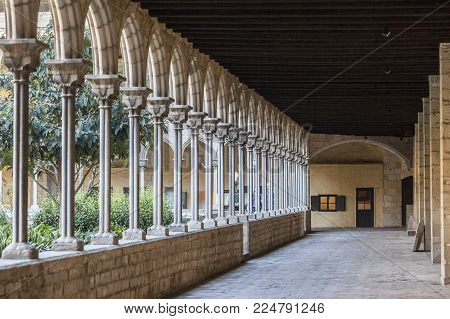 Barcelona, Spain- February 26,2017: Cloister Monastery Pedralbes,barcelona.
