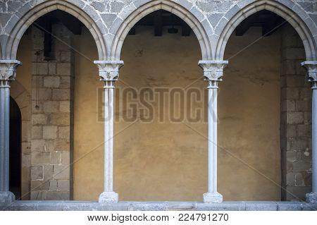 Barcelona, Spain-february 26,2017: Cloister Monastery Pedralbes, Barcelona, Spain.