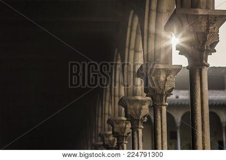 Ancient Cloister Arch, Shadow And Sun Star.