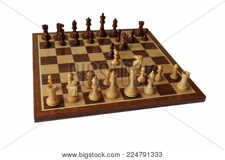 Photo of chess opening on white background. Petroff Defence.
