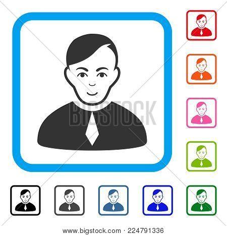 Joyful Loyer vector pictogram. Human face has gladness emotion. Black, gray, green, blue, red, orange color versions of loyer symbol inside a rounded rectangular frame.