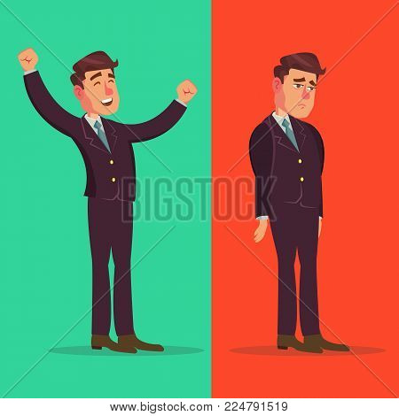 Happy And Unhappy Businessman Vector. Good And Bad. Right And Wrong. Like And Dislike. Isolated Cartoon Character Illustration