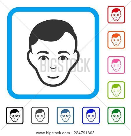 Happy Man Face vector icon. Person face has joy feeling. Black, grey, green, blue, red, pink color variants of man face symbol in a rounded squared frame.