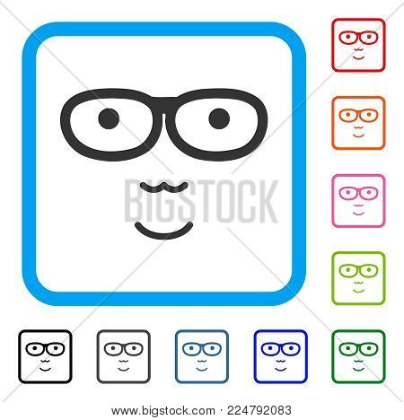 Positive Nerd Face vector pictograph. Person face has smiling emotions. Black, grey, green, blue, red, pink color additional versions of nerd face symbol in a rounded square.