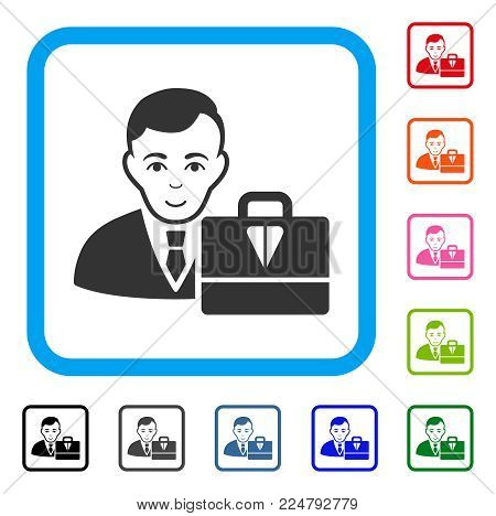 Gladness Ton Accounter vector icon. Human face has joy expression. Black, gray, green, blue, red, orange color versions of ton accounter symbol inside a rounded frame.