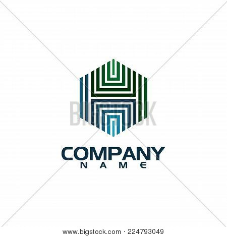 Hexagon - Branding hexagon vector logo concept illustration. Hexagon geometric polygonal logo. Hexagon abstract logo. Vector logo template. Design element.