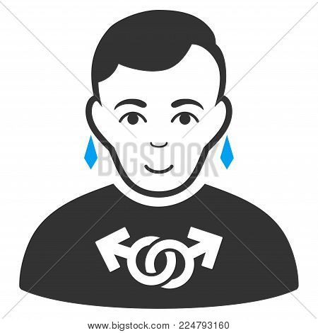 Gay vector icon. Flat bicolor pictogram designed with blue and gray. Human face has joy sentiment.