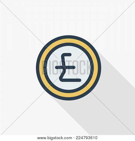 Pound Sterling currency coin thin line flat color icon. Linear vector illustration. Pictogram isolated on white background. Colorful long shadow design.