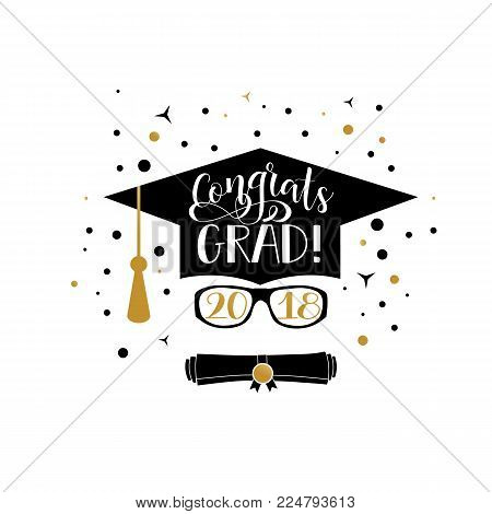 Template of the graduation class in 2018. Graduation design with hut and text. Congrats Grad. Concept shirt, seal, stamp or stamp, greetings, invitation.