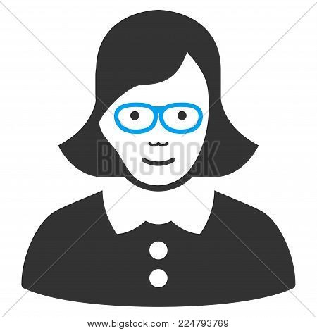 Teacher Lady vector pictogram. Flat bicolor pictogram designed with blue and gray. Human face has glad sentiment. poster