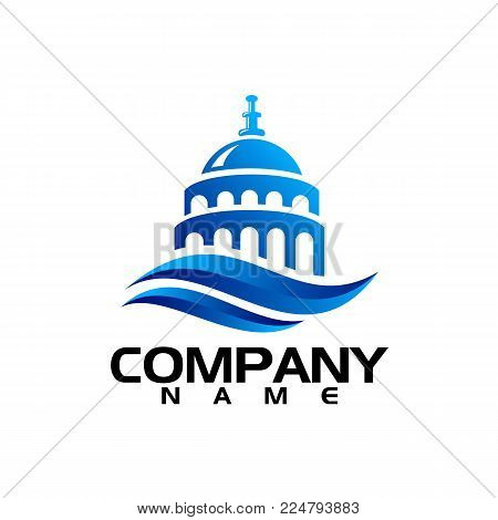 Capitol building logo. Government icon. Premium design. Vector thin line icon isolated on white background