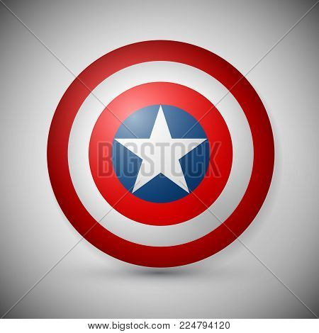 Shield with a star, superhero shield, comics shield.