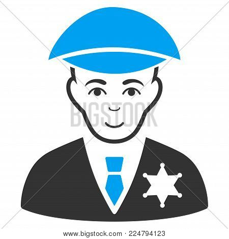 Sheriff vector pictogram. Flat bicolor pictogram designed with blue and gray. Human face has smiling sentiment.