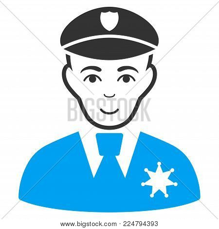 Sheriff vector icon. Flat bicolor pictogram designed with blue and gray. Human face has happiness emotion.