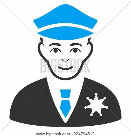 Sheriff vector pictogram. Flat bicolor pictogram designed with blue and gray. Person face has glad sentiment.