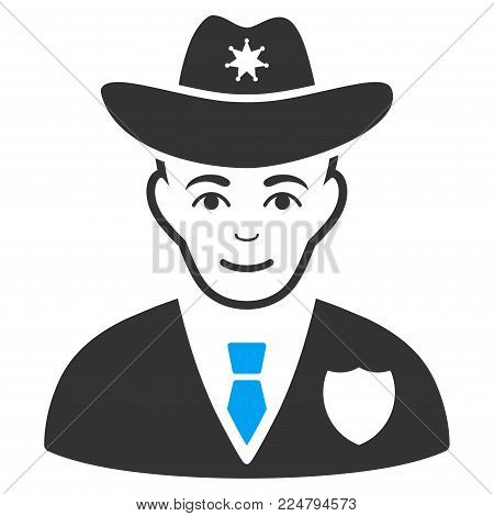 Sheriff vector pictogram. Flat bicolor pictogram designed with blue and gray. Human face has enjoy emotions. poster