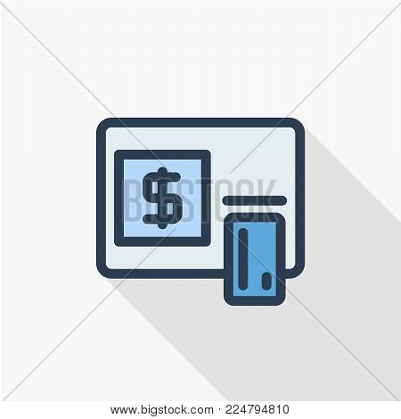 ATM, banking, dollar cash, card money, finance thin line flat color icon. Linear vector illustration. Pictogram isolated on white background. Colorful long shadow design.