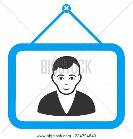 Man Portrait vector pictograph. Flat bicolor pictogram designed with blue and gray. Person face has cheerful expression.