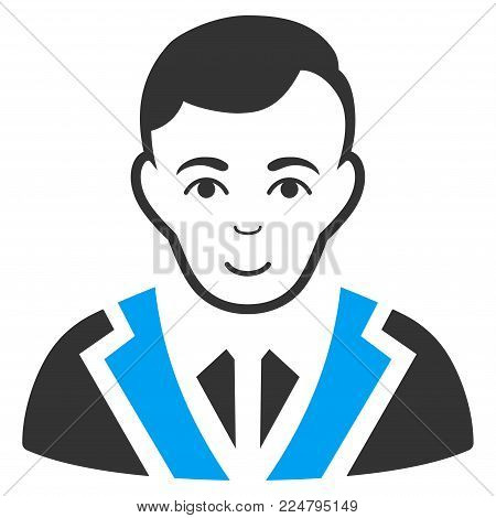 Noble Gentleman vector icon. Flat bicolor pictogram designed with blue and gray. Human face has cheerful sentiment.