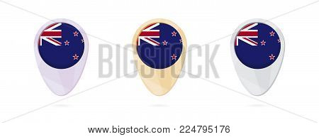 Map markers with flag of New Zealand, 3 color versions.