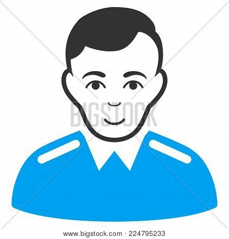 Officer vector icon. Flat bicolor pictogram designed with blue and gray. Human face has joyful sentiment.