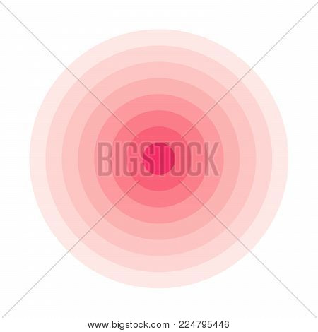 Red concentric rings. Epicenter theme. Simple flat vector illustration.