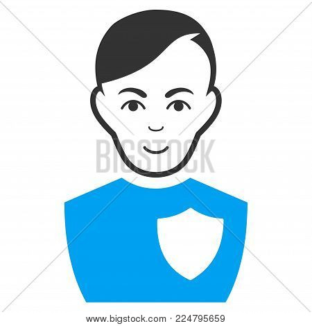Police Officer vector pictograph. Flat bicolor pictogram designed with blue and gray. Person face has enjoy feeling.